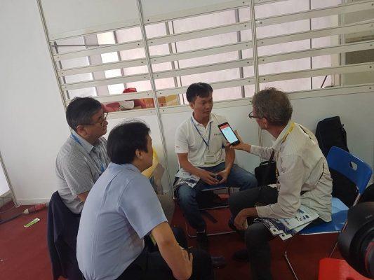 Ngày đầu tiên khai trương gian hàng - D65, phóng viên từ International Plastic for Asia đến tham quan và phỏng vấn CEO VIETSONIC – TS Nguyễn Thanh Hải